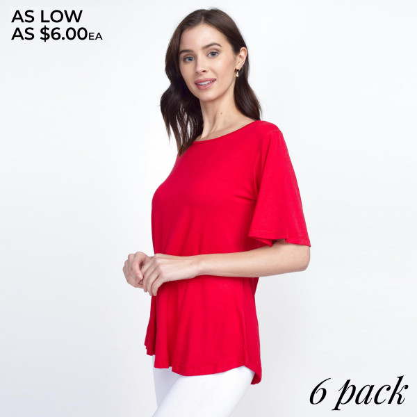 Show up to your next Summer party in this stylish staple featuring short bell sleeves, a crew-neck, and a relaxed fit. The soft, stretch knit fabric is breathable and lightweight making it comfortable for all day wear. Complete the look with a sleek pair of leggings or your favorite denim with heels.  -Crew-neck -Short sleeves -Loose-fit bodice -Pullover styling -Curved hemline -Super Soft -Imported  Content: 95% Rayon, 5% Spandex Pack   Breakdown: 6pcs/pack. 2S: 2M: 2L