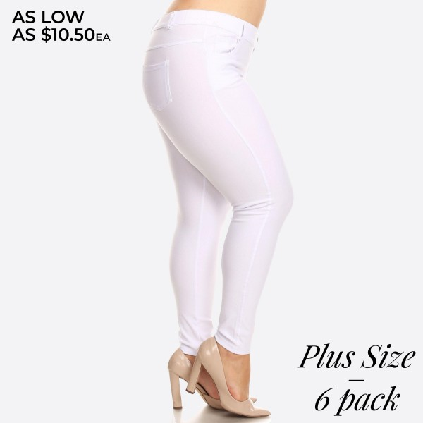 These jeggings are styled to resemble a pair of jeans. Get both comfort and style!   • Full length jeggings featuring a light sheen and jean-style construction  • Lightweight, breathable cotton-blend material for all day comfort  • Belt loops with 5 functional pockets  • Shake Head Button  • Super Stretchy  • Pull up Style   Composition: 70% Cotton, 25% Polyester, 5% Spandex   Pack Breakdown: 6pcs/pack. 2XL: 2XXL: 2XXXL