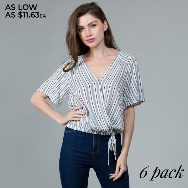 Short sleeve V neck shirt with side tie. 100% rayon. Comes in 6 pack. Breakdown S-2, M-2, L-2.