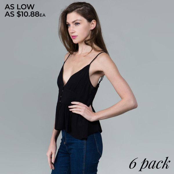 Light weight camisole top with buttons details. Comfy fit matchable with any pants.  Comes in 6 pack. Breakdown S-2, M-2, L-2.