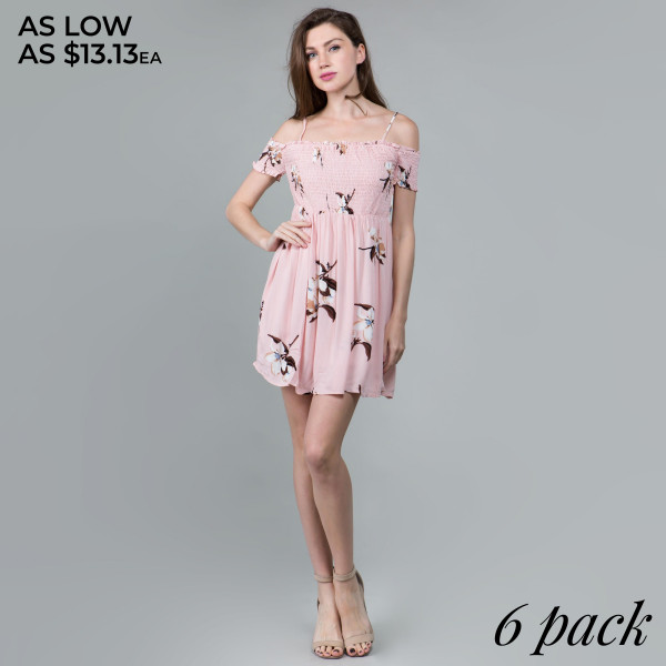 Light weight camisole floral dress with off the should sleeve. Comes in 6 pack. Breakdown S-2, M-2, L-2.