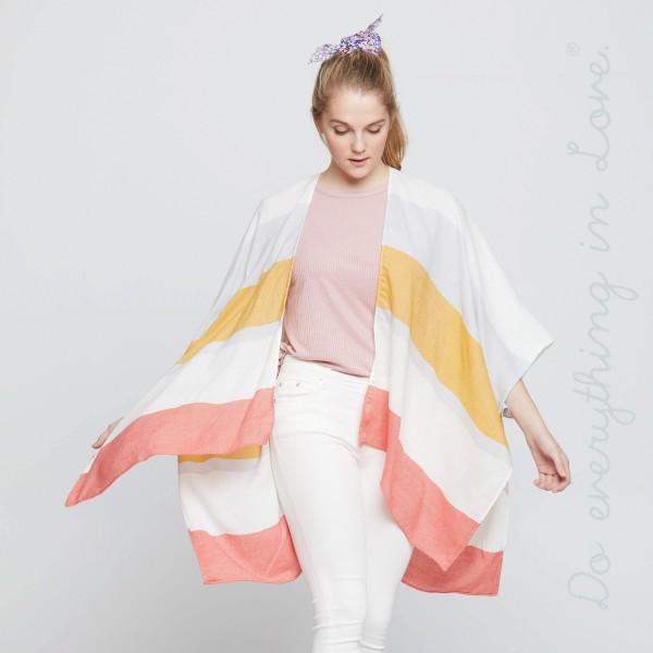 Block stripe kimono. 100% acrylic.