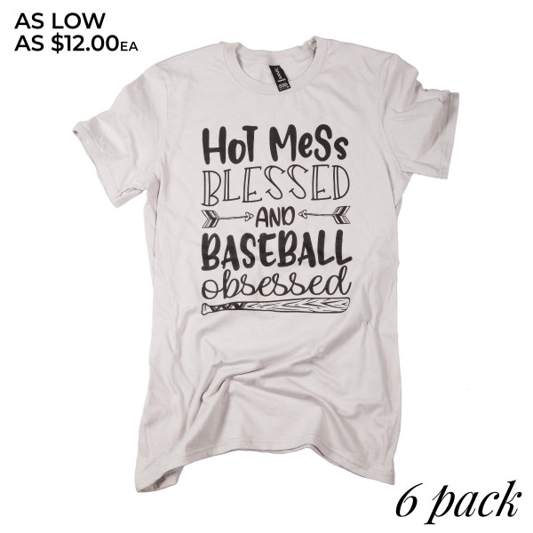 1cd3de4a0 Wholesale hot Mess Blessed Baseball Obsessed Short Sleeve Boutique Graphic  Tee