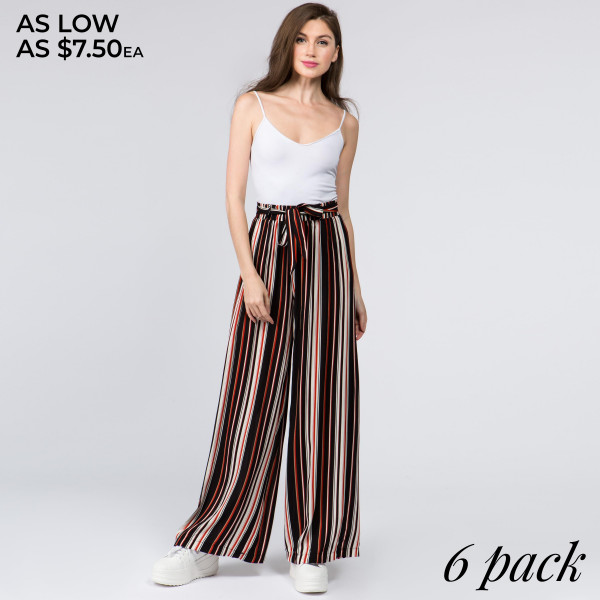 Gorgeous striped ladies rayon challis paper bag pants with fabric waistband.   - Pack Breakdown: 6pcs / pack  - Sizes: 1S / 2M / 2L / 1XL  - Composition: 100% Rayon