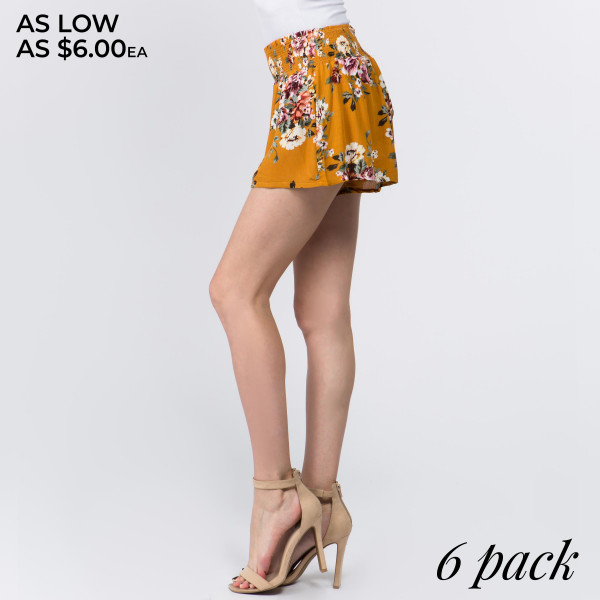 """Floral shorts with 3"""" waistband. Comes in six pack. Breakdown: 1S,2L-2M,1XL."""
