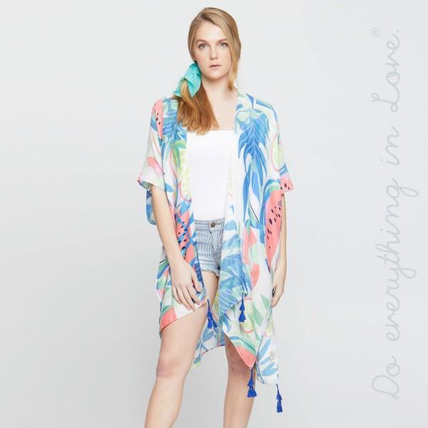 Watermelon print kimono. 100% polyester.