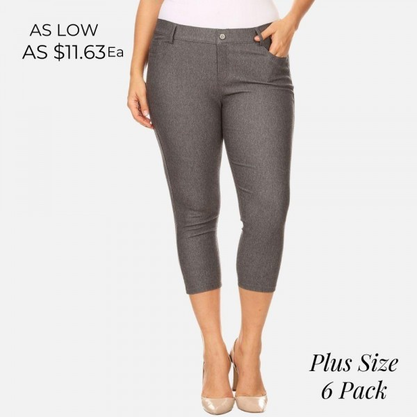 The Original is your standard 5-pocket capri jegging. With a classic silhouette construction, the Original is smooth, stretchy, and fits like a glove.   -Capri jegging featuring a light sheen and jean-style construction. -Lightweight, breathable cotton-blend material for all day comfort. -Belt loops with 5 functional pockets.  -Super stretchy.  -Pull-up style.    Composition: 68% Cotton, 27% Polyester, 5% Spandex.   Pack Breakdown: 6pcs/pack. 2XL: 2XXL: 2XXXL