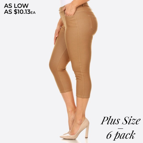 "Women's Plus classic skinny capri jeggings.  • Capri jeggings featuring a light sheen and jean-style • Lightweight, breathable cotton-blend material  • Belt loops with 5 functional pockets • Super Stretchy • Pull up Style  - Pack Breakdown: 6pcs/pack - Sizes: 2-XL / 2-2XL / 2-3XL - Inseam approximately 25"" L - 68% Cotton, 27% Polyester, 5% Spandex"
