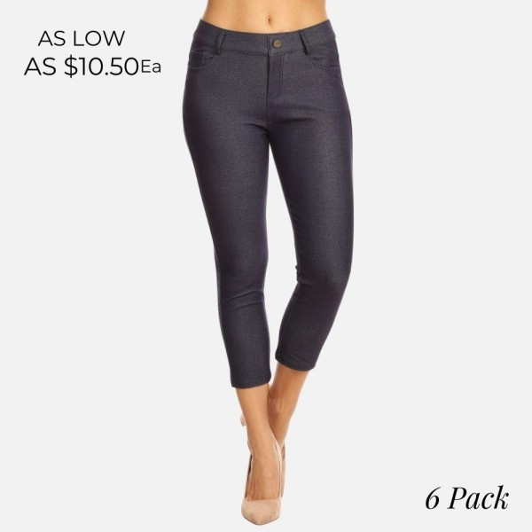 "Women's classic skinny capri jeggings.  • Capri jeggings featuring a light sheen and jean-style  • Lightweight, breathable cotton-blend material  • Belt loops with 5 functional pockets • Super Stretchy • Pull up Style  - Pack Breakdown: 6pcs/pack - Sizes: 2-S / 2-M / 2-L - Inseam approximately 25"" L - 68% Cotton, 27% Polyester, 5% Spandex"