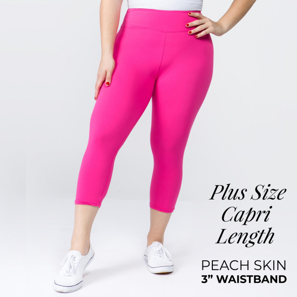 """These plus size New Mix Brand peach skin capris are seamless, chic, and a must-have for every wardrobe. These lightweight, capri leggings have a 3"""" waistband. They are versatile, perfect for layering, and available in many colors. 92% Polyester 8% Spandex. One size fits most plus 16-20."""