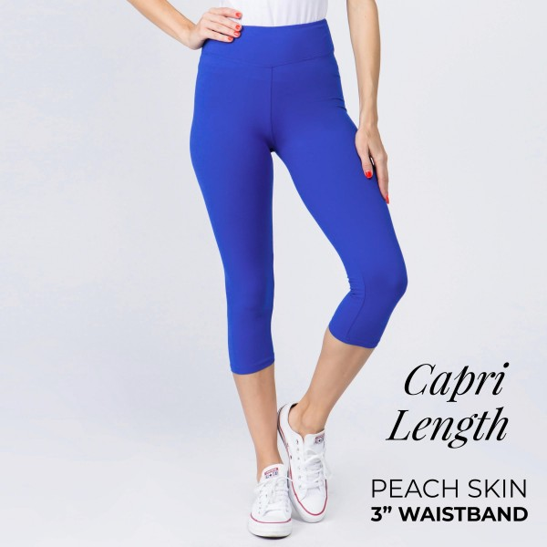 "These New Mix Brand peach skin capris are seamless, chic, and a must-have for every wardrobe. These lightweight, capri leggings have a 3"" waistband. They are versatile, perfect for layering, and available in many colors. 92% Polyester 8% Spandex. One size fits most 0-14."