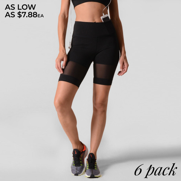 Trust us. These biker shorts will have you feeling yourself during exercise or hanging out with friends! Soft, stretchy, biker shorts featuring a high rise waistband and breathable mesh inserts along the hem perfect for keeping cool during a sweaty workout.   • Elasticized high rise waistband • Breathable mesh panels  • Crop knee length hem  • Soft and stretchy  • Moisture wicking fabric  • Fits like a glove  • 4-way-stretch fabric for a move-with-you feel  • Tummy-flattening waistband with interior hidden pocket  • Flat-locked seaming for extra comfort   Composition: 75% Nylon, 25% Spandex   Pack Breakdown: 6pcs/pack. 2S: 2M: 2L