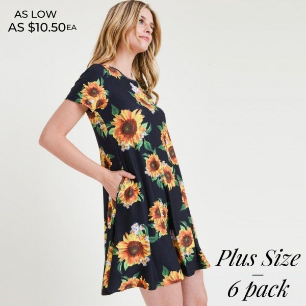 You'll look and feel as pretty as a sunflower in this dress!   • Short sleeves, crewneck  • Sunflower print design  • Soft and stretchy  • Fit and flare silhouette  • Knee length hem  • Two open side pockets holds keys/cash/phone  • Pullover styling  • Imported   Content: 95% Rayon, 5% Spandex   Pack Breakdown: 6pcs/pack. 2XL: 2XXL: 2XXXL