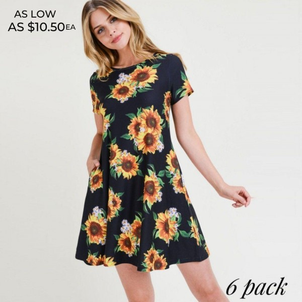 You'll look and feel as pretty as a sunflower in this dress!   • Short sleeves, crewneck  • Sunflower print design  • Soft and stretchy  • Fit and flare silhouette  • Knee length hem  • Two open side pockets holds keys/cash/phone  • Pullover styling  • Imported   Content: 95% Rayon, 5% Spandex   Pack Breakdown: 6pcs/pack. 2S: 2M: 2L