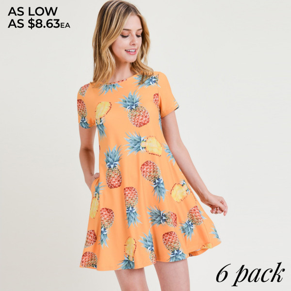 You'll feel as sweet as a pineapple and cute as can be in this fit & flare dress, perfect for a beach vacay!   -Short sleeves, crewneck  -Pineapple print design  -Soft and stretchy  -Fit and flare silhouette  -Knee-length hem  -Two open side pockets hold keys/cash/phone  -Pull over styling  -Imported   Composition: 95% Rayon, 5% Spandex.   Pack Breakdown: 6pcs/pack. 2S: 2M: 2L