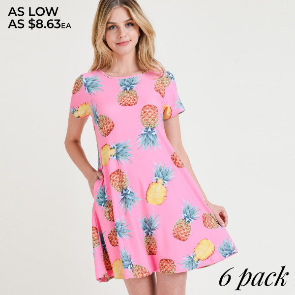 You'll feel sweet like pineapple and cute as can be in this fit & flare dress perfect for taking with you on vacay!   • Short sleeves, crewneck  • Pineapple print design  • Soft and stretchy  • Fit and flare silhouette  • Knee length hem  • Two open side pockets holds keys/cash/phone  • Pull over styling  • Imported   Content: 95% Rayon, 5% Spandex   Pack Breakdown: 6pcs/pack. 2S: 2M: 2L