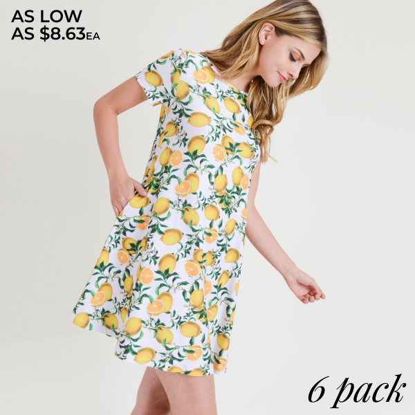 You're never sour, only sweet in this adorable lemon print dress!  • Short sleeves, crewneck  • Lemon print design  • Soft and stretchy  • Fit and flare silhouette  • Knee length hem  • Two open side pockets holds keys/cash/phone  • Pullover styling  • Imported   Content: 95% Rayon, 5% Spandex   Pack Breakdown: 6pcs/pack. 2S: 2M: 2L