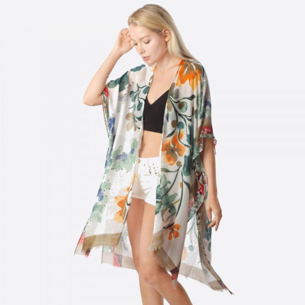 "Women's lightweight sheer khaki floral kimono. Approximately 37"" in length.   - One size fits most 0-14 - Approximately 37"" L - 100% Polyester"