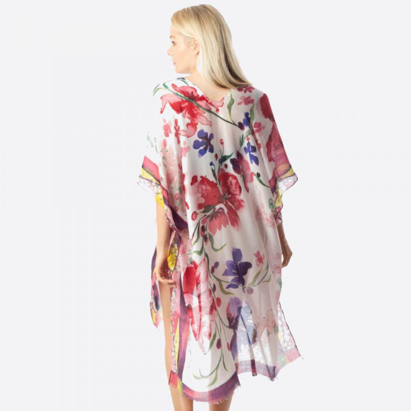 """Lightweight kimono featuring a flower inspired print. Approximately 37"""" in length.   Composition: 100% Polyester."""