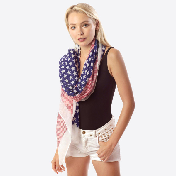 Light weight American flag scarf. 30% polyester-70%polyester.