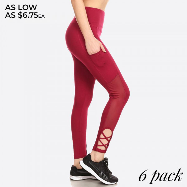 WOMENS SOLID SPORTS LEGGINGS YOGA PANTS WITH A BANDED ELASTIC HIGH WAIST, BODY SLIMMING TUMMY CONTROL, SIDE PHONE POCKETS, MESH, CRISS CROSS & STRAP DETAILS.   PLEASE NOTE:  *LIGHT GREY COLOR RUNS SHORTER IN LENGTH THAN THE REST OF THE COLORS.  ITEM NO. 8L07 SIZE:S-M-L-XL(1-2-2-1) PACKAGE:6PCS/PREPACK 94%POLYESTER  6%SPANDEX  MESH: 90%POLYESTER  10%SPANDEX