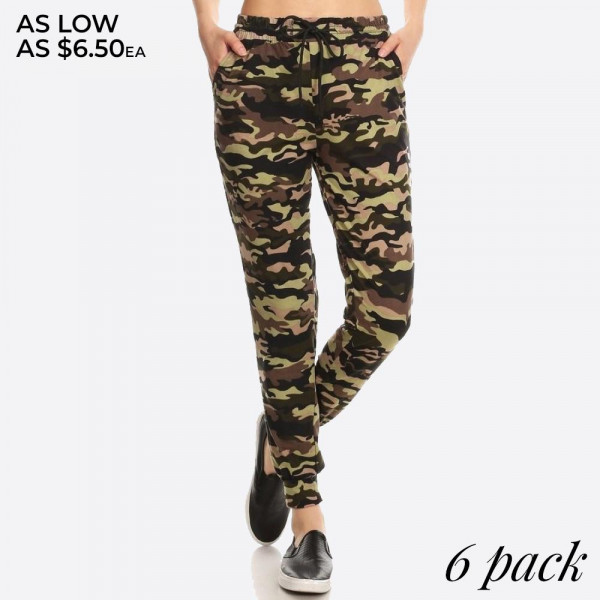 Full-length, high waisted jogger sweatpants features a camo print and a relaxed fit. Includes an elastic waistband with drawstring ties and side pockets.  Composition: 92% Polyester, 8% Spandex.  Pack Breakdown: 6pcs/pack. 1S: 2M: 2L: 1XL