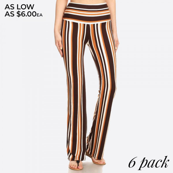 Soft-brushed, full-length bohemian flare pants featuring a high waist, slim fit, and wide, flared legs. Super soft, stretchy, and comfortable.   Color: Brown & Cream Striped Print  Composition: 92% Polyester, 8% Spandex.  Pack Breakdown: 6pcs/pack. 1S: 2M: 2L: 1XL  MADE IN CHINA