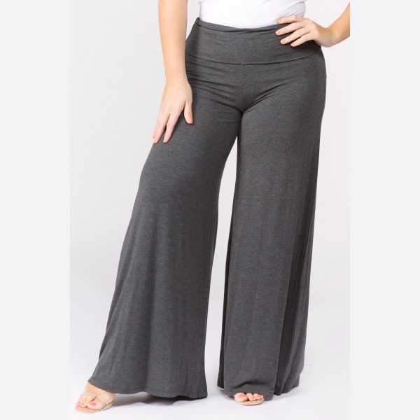 "Solid charcoal plus size palazzo pants featuring high waist and pull on styling. Inseam approximately 32"".   Breakdown: 6pcs / pack  Sizes: 3-XL / 2-1X / 1-2X  Composition: 95% Rayon 5% Spandex"
