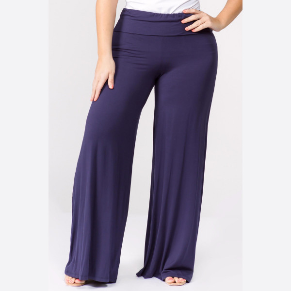 "Solid navy PLUS SIZE palazzo pants featuring high waist and pull on styling. Inseam approximately 32"" in length.   Breakdown: 6pcs / pack.   Sizes: 3 XL / 2 XXL / 1 XXXL.  Composition: 95% Rayon 5% Spandex."