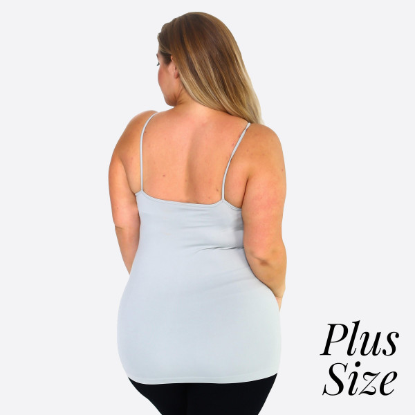 "Women's Solid Plus Size Triple Cross Seamless Camisole.  • Scoop-neck • Unique Crisscross Front • Spaghetti Straps • Ultra Soft • Stretchy Knit • Machine Wash • Imported  - One size fits most 16-22 - Approximately 25"" L - 92% Nylon / 8% Spandex"