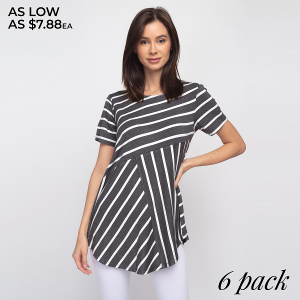 """Striped charcoal and white short sleeve tunic top. Approximately 27"""" in length.  - Pack Breakdown: 6pcs / pack  - Sizes: 2S / 2M / 2L  - Composition: 95% Rayon, 5% Spandex"""