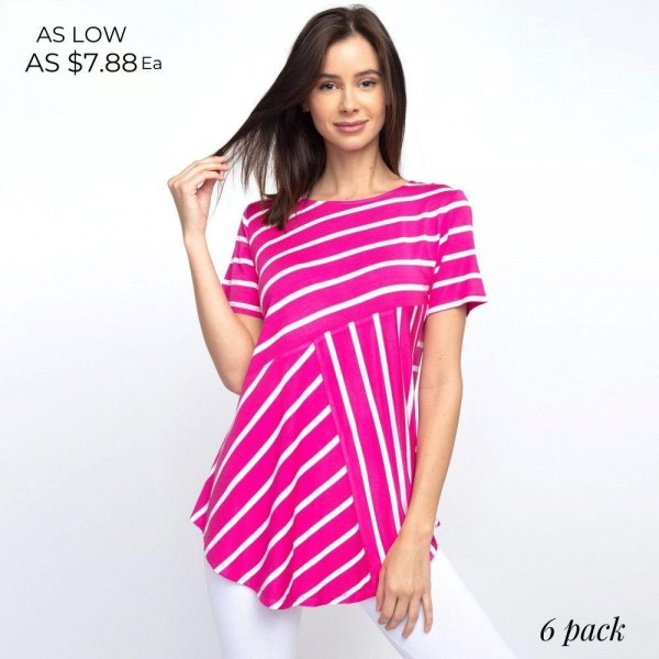 """Striped fuchsia and white short sleeve tunic top. Approximately 27"""" in length.  - Pack Breakdown: 6pcs / pack  - Sizes: 2S / 2M / 2L  - Composition: 95% Rayon, 5% Spandex"""