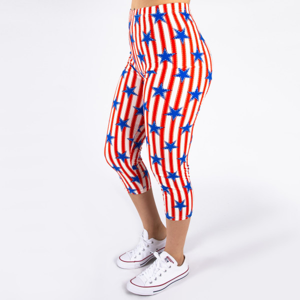 """Peach skin 4th of July capri style leggings featuring stars and stripes. Inseam approximately 26"""".  - One size fits most 0-14  - Composition: 92% Polyester, 8% Spandex/Elasthanne"""