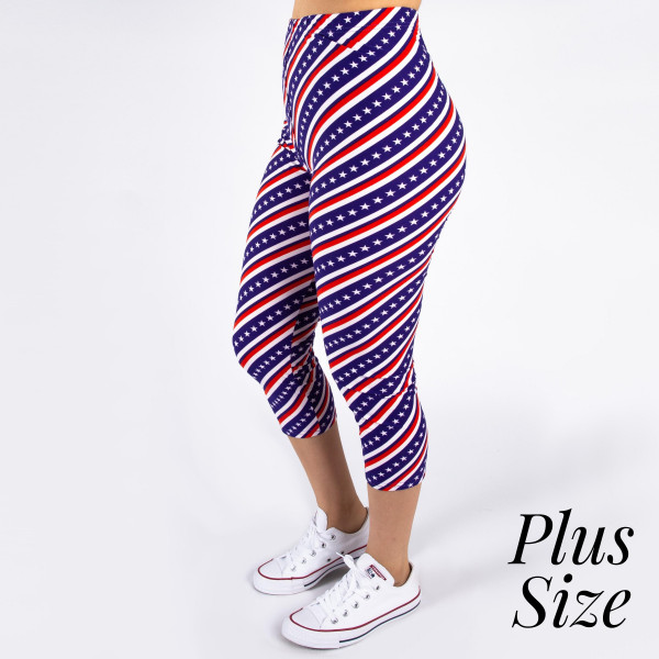 Wholesale pLUS peach skin th July capri leggings stars stripes Inseam One fits m