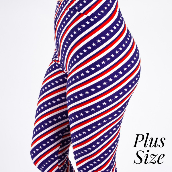 """PLUS SIZE peach skin 4th of July capri style leggings featuring stars and stripes. Inseam approximately 19"""".  - One size fits most 16-20  - Composition: 92% Polyester, 8% Spandex/Elasthanne"""