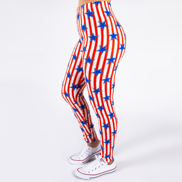 """Peach skin 4th of July full-length leggings featuring stars and stripes. Inseam approximately 26"""".  - One size fits most 0-14  - Composition: 92% Polyester, 8% Spandex/Elasthanne"""