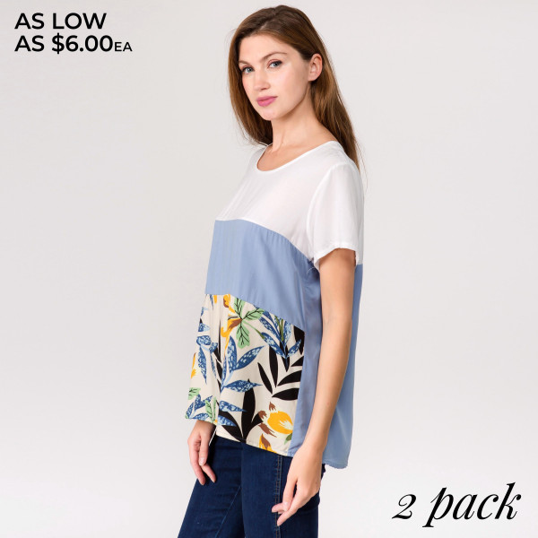 "White and blue horizontal stripe short sleeve top featuring a front floral print detail. Approximately 24"" in length.  - Pack Breakdown: 2pcs / pack  - Sizes: 1-S/M / 1-L/XL  - Composition: 65% Cotton, 35% Polyester"