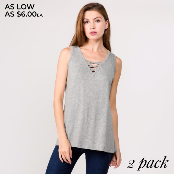 "Solid sleeveless tunic top featuring a criss cross v-neck detail. Approximately 24"" in length.  - Pack Breakdown: 2pcs / pack  - Sizes: 1-S/M / 1-L/XL  - Composition: 95% Cotton, 5% Spandex"