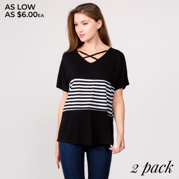 "Short sleeve tunic top featuring criss cross v-neck and striped details. Approximately 25"" in length.  - Pack Breakdown: 2pcs / pack  - Sizes: 1-S/M / 1-L/XL  - Composition: 95% Cotton, 5% Spandex"