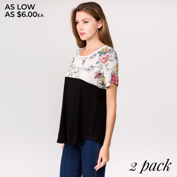 "Short sleeve top featuring a top half floral print detail. Approximately 24"" in length.  - Pack Breakdown: 2pcs / pack  - Sizes: 1-S/M / 1-L/XL  - Composition: 95% Cotton, 5% Spandex"
