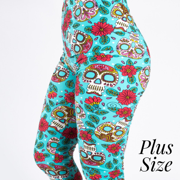 """PLUS SIZE peach skin sugar skull print capri style leggings. Inseam approximately 19"""".  - One size fits most 16-20  - Composition: 92% Polyester, 8% Spandex/Elasthanne"""