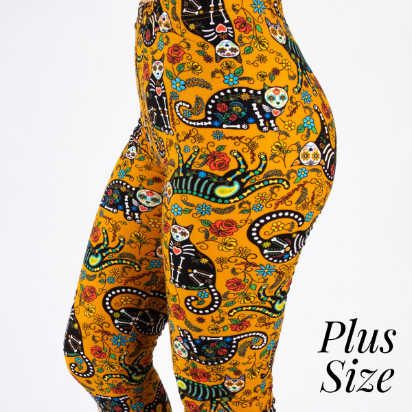 "PLUS SIZE peach skin sugar skull cat print capri style leggings. Inseam approximately 19"".  - One size fits most 16-20  - Composition: 92% Polyester, 8% Spandex/Elasthanne"