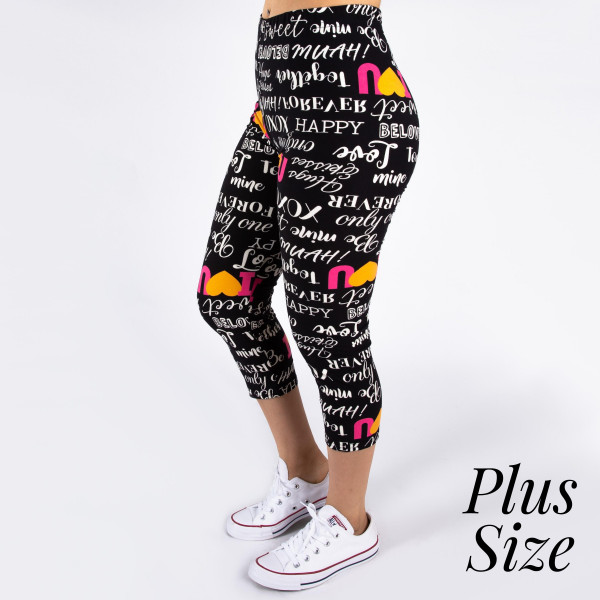 "PLUS SIZE peach skin ""I Love You"" print capri style leggings. Inseam approximately 19"".  - One size fits most 16-20  - Composition: 92% Polyester, 8% Spandex/Elasthanne"