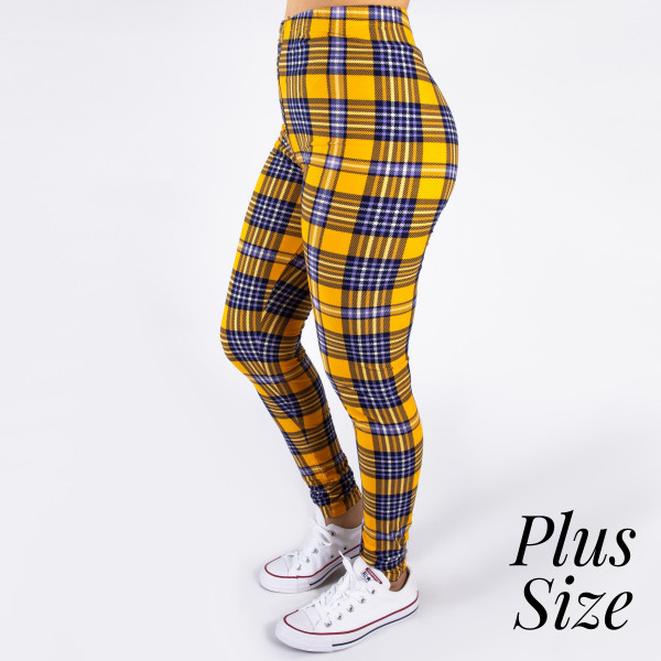 """PLUS SIZE peach skin plaid print full-length leggings. Inseam approximately 26"""".  - One size fits most 16-20  - Composition: 92% Polyester, 8% Spandex/Elasthanne"""