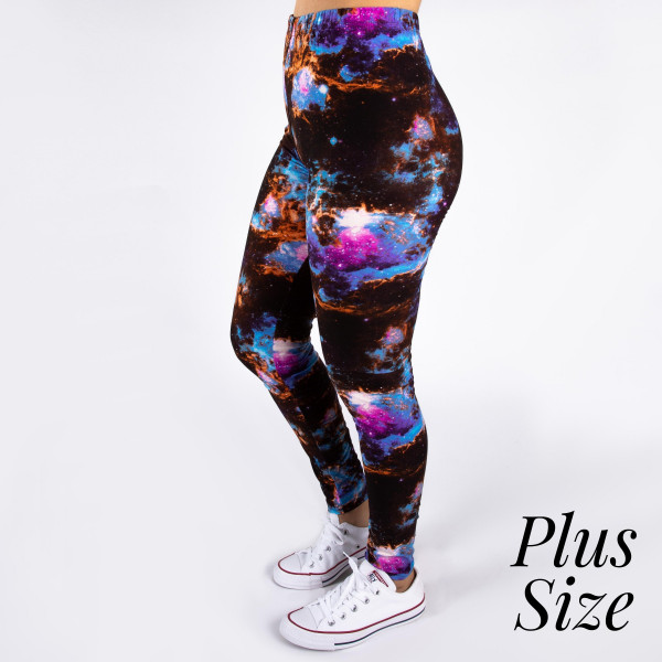 "PLUS SIZE peach skin galaxy print full-length leggings. Inseam approximately 26"".  - One size fits most 16-20  - Composition: 92% Polyester, 8% Spandex/Elasthanne"