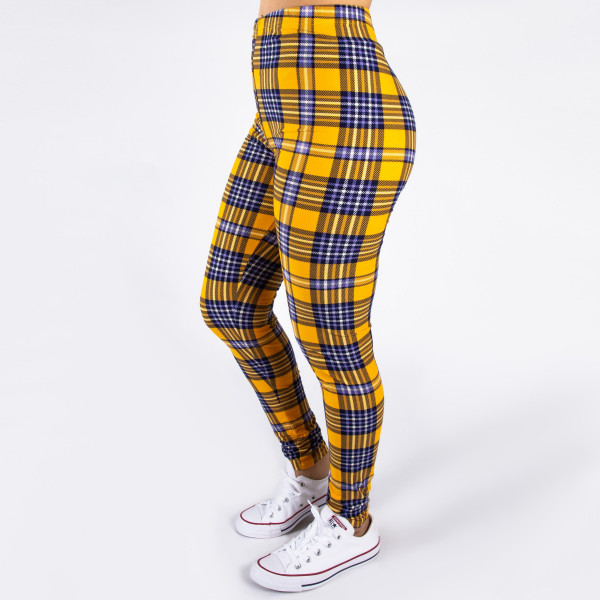 """Peach skin plaid print full-length leggings. Inseam approximately 26"""".  - One size fits most 0-14  - Composition: 92% Polyester, 8% Spandex/Elasthanne"""