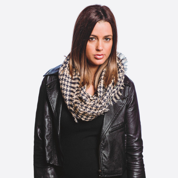 """Houndstooth infinity scarf.  - Approximately 18"""" x 33"""" Loop  - 100% Acrylic"""