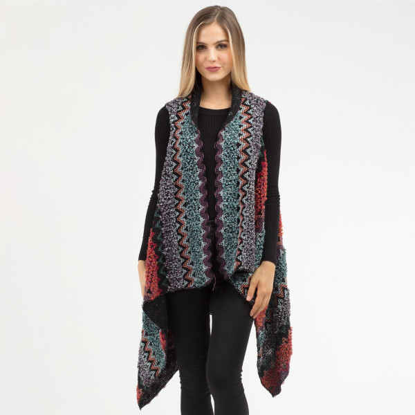 """Multicolor chevron vest.   - One size fits most 0-14 - Approximately 34"""" in length, longest length 45"""" in length. - 100% Acrylic"""
