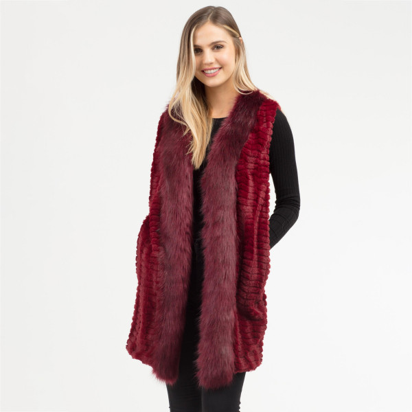 Wholesale soft faux fur trim vest side pocket details One fits most Polyester