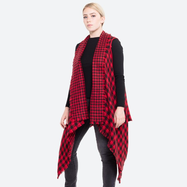 """Reversible buffalo check vest.  - One size fits most 0-14 - Approximately 35"""" in length, longest length 47"""" - 100% Acrylic"""